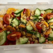 Quinoa salad with butternut squash & pomegranate seeds