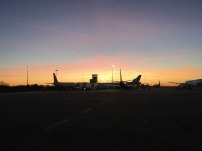 Boarding the plane at sunrise