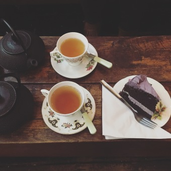 Fancy teas and parma violet cake