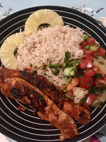 Cajun basa with pineapple & mint salsa