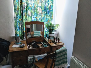 Bargain second hand dressing table & new botanical curtain